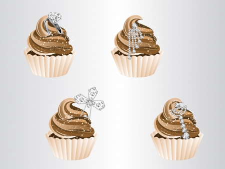 ear drop: illustration of four luxury cupcakes with jewels