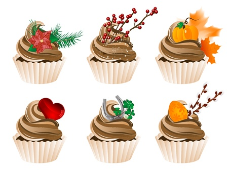 illustration of celebration and holidays cupcakes Vector