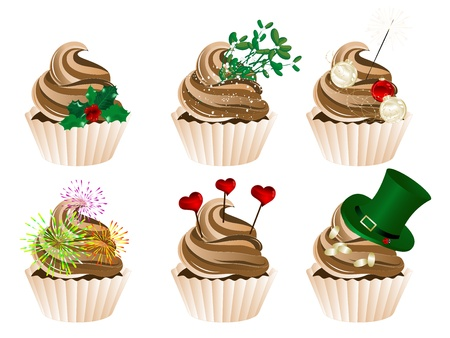 illustration of celebration and holidays cupcakes