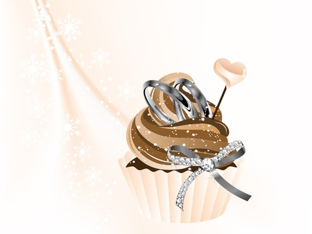 Luxury wedding cupcake with two rings and bow Illustration