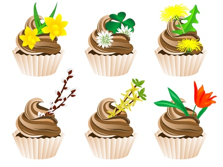 illustration of cupcakes with spring flowers