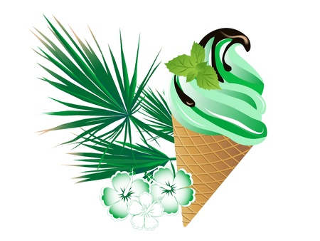 chocolate mint: Cone of mint ice cream with chocolate