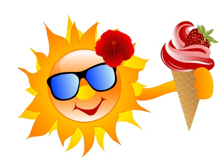 Smiling cartoon sun with strawberry ice cream Vector
