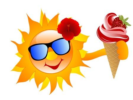 strawberry chocolate: Smiling cartoon sun with strawberry ice cream Illustration