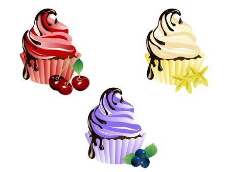 cocoa fruit: Vector illustration of cupcakes with fresh fruits
