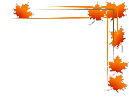 fall leaves border: Abstract frame with orange autumn leaves Illustration