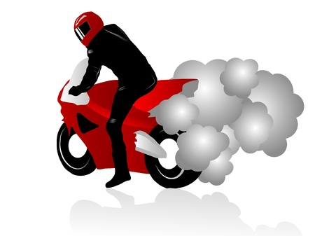 extremesport: Vector illustration of motorcycle racer with smoking tires Illustration