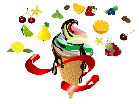 Ice cream in cone with fresh fruit Vector