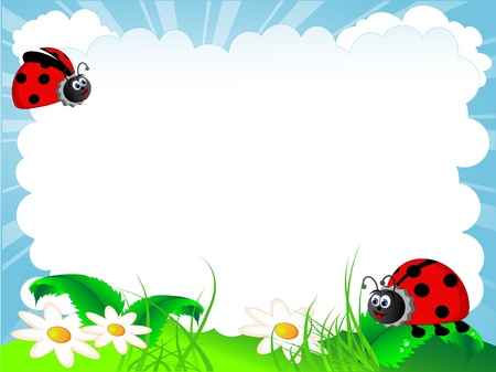 Vector illustration of the ladybird and cloud