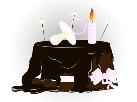 Chocolate cake with pink pacifier and sparklers Illustration