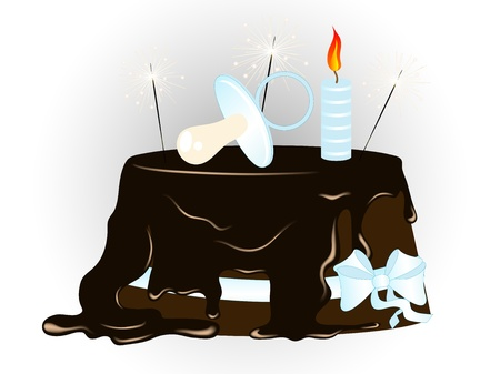 sweetness: Chocolate cake with blue pacifier and sparklers Illustration