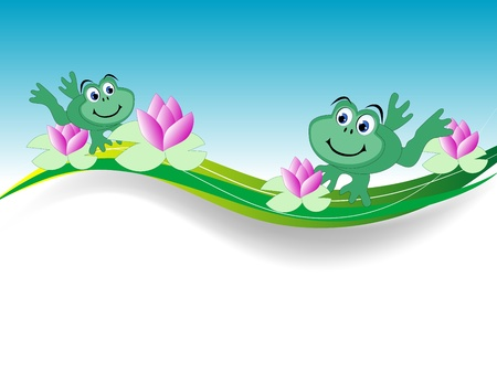 Background with two frogs and water lily Vector