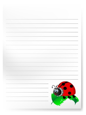 ladybird: Blank notepaper with cute cartoon ladybird Illustration