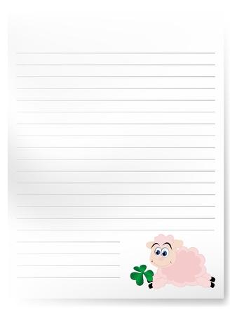 carta da lettere: Lettere in bianco con cute cartoon agnello Vettoriali