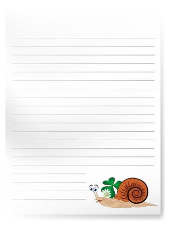 Blank notepaper with cute cartoon snail Vector