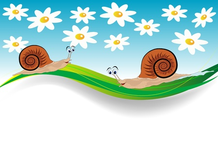 Spring banner with two snails and flowers Vector