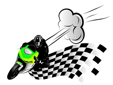 motociclista: ilustración del corredor de la motocicleta y la bandera de acabado