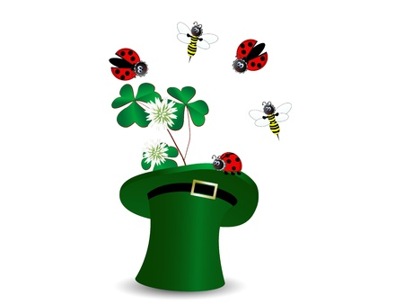 Ladybirds and bees in hat with clover Vector