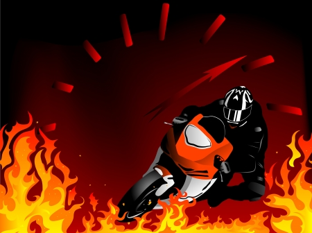 Silhouette of motobiker and speedometer in the flames Vector