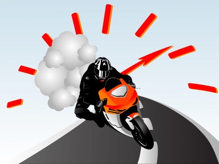 extremesport: illustration of motorcycle racer on the road