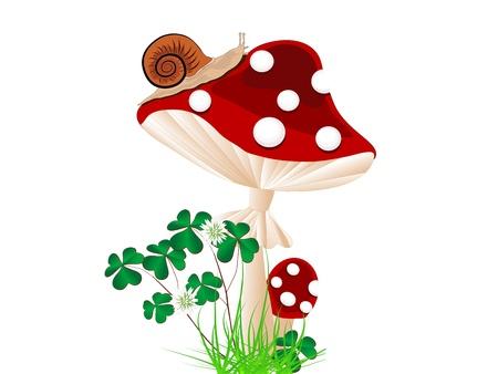 caracol: Cartoon hongo rojo con el caracol y el trébol