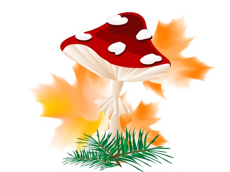 quarterfoil: Cartoon red mushroom with autumn leaves and needles