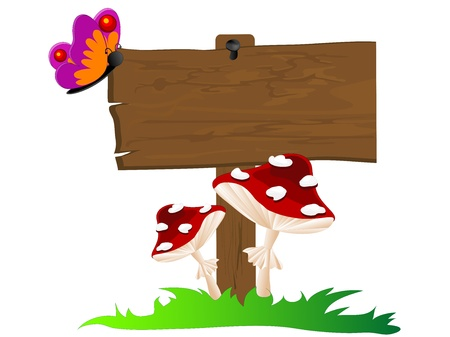Wooden signboard, butterfly and two red mushrooms