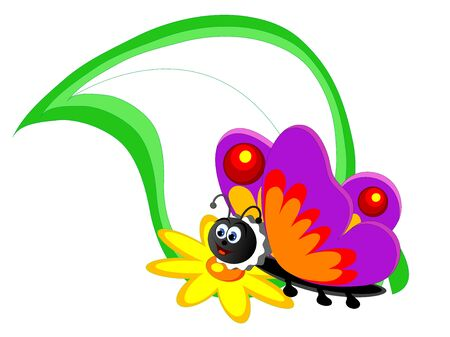 Spring banner with butterfly and green leaf Vector