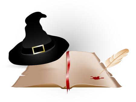 fantasize: Abstract magic background with book and hat Illustration