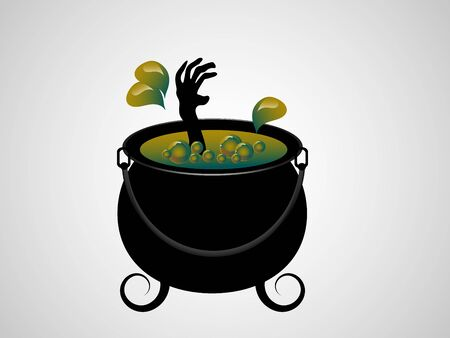 igniter: Witches cauldron with her hand inside - vector illustration