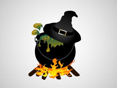 Heksen ketel met vlammen - vector illustratie
