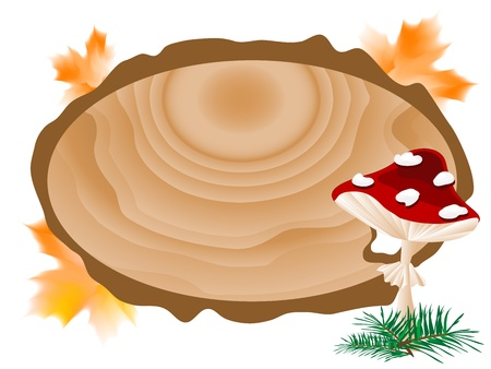 Wooden signboard, leaves and red mushrooms Vector