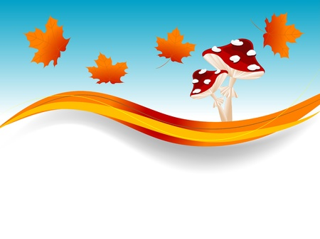 Abstract frame with orange autumn leaves and red mushrooms Illustration