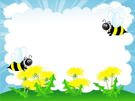 Spring banner with bee and yellow dandelions Vector