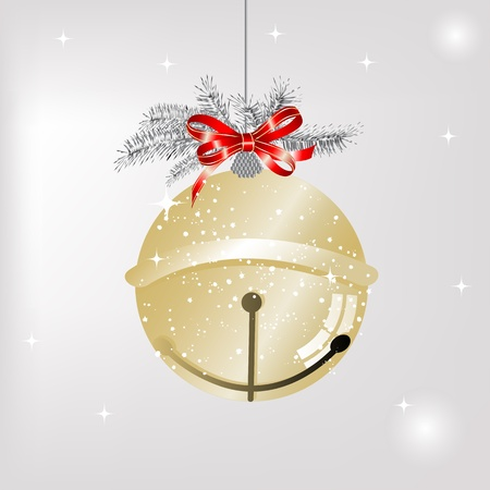 Golden jingle bell with red bow Vector