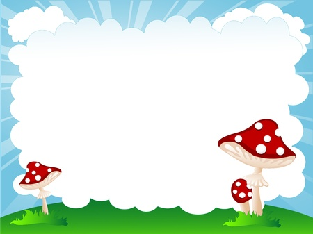Red mushrooms in grass and blue cloud for your text Stock Vector - 21261009