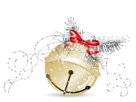 jingle bell: Golden jingle bell with red bow and needles