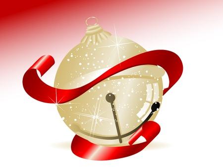 fantasize: Golden jingle bell with red ribbon Illustration