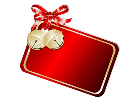 jingle bell: Red card with golden jingle bells and ribbon
