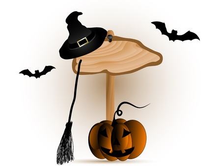 Wooden signboard and the witches hat and broom Vector