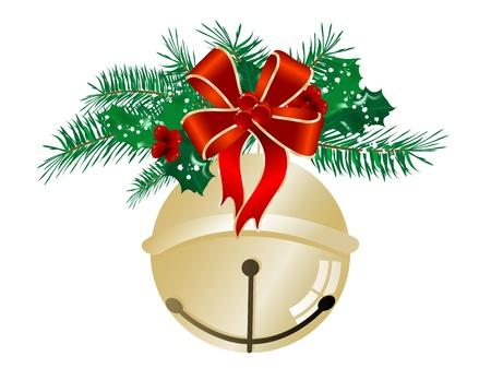 Goldene Jingle Bell mit rotem Band und Nadeln Standard-Bild - 21640446