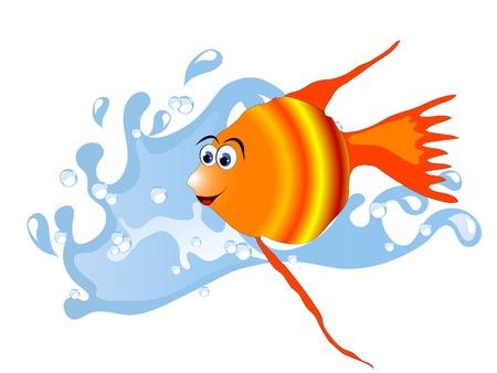 naranja caricatura: Onda de agua azul y naranja peces de mar de dibujos animados Vectores