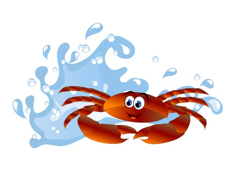 Blue water wave and orange cartoon crab Vector