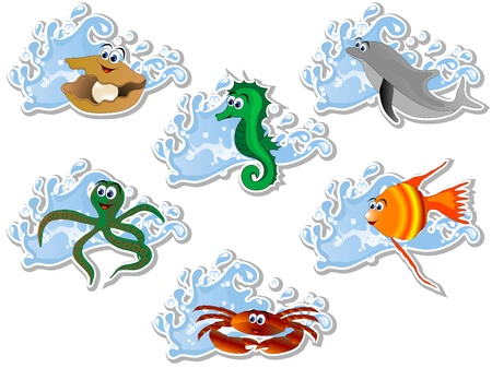 Blue water wave and cartoon sea animals Vector