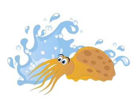 waterdrop: Blue water wave and orange cartoon sepia