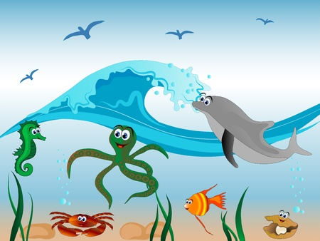 Underwater life - sea animals and the wave Vector