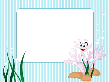 Blue stripped background with grass and coral Vector
