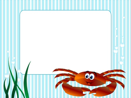 Blue stripped background with grass and crab Vector
