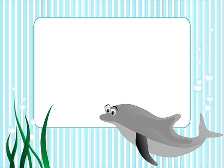 Blue stripped background with grass and dolphin Vector