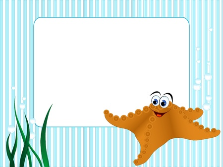 Blue stripped background with grass and starfish Vector